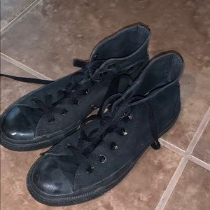 All black converse high tops Size 8 in women's